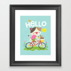 Cat on a bike Framed Art Print