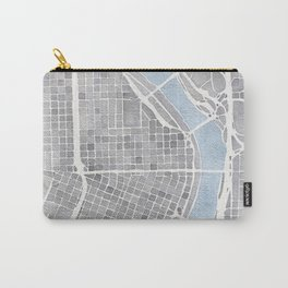 Portland Oregon watercolor city map art Carry-All Pouch
