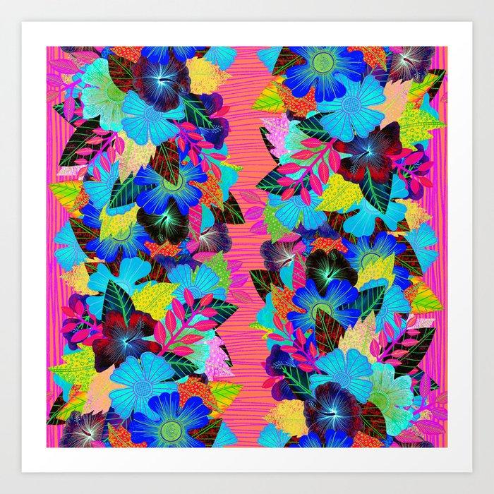 Neon Tiki Tropical Flowers Art Print