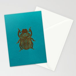Egyptian Scarab Beetle - Leather & Gold on teal Stationery Cards