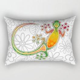 Gecko Floral Tribal Art Rectangular Pillow