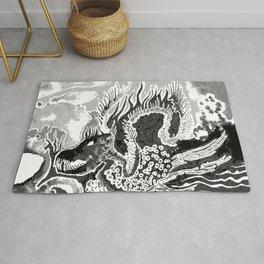 greyscale dragon Rug
