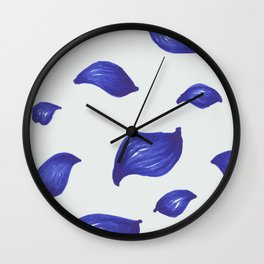 Deep blue leaves pattern Wall Clock