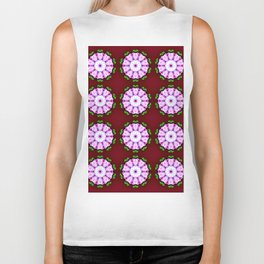 Purple White Flower on Burgundy Pattern Biker Tank