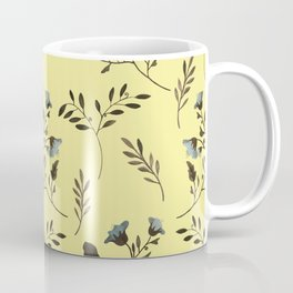 Butter Yellow and Bluebells and Bluebirds Floral Pattern Flowers in Blue and Bark Brown Coffee Mug