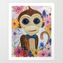 Merle the Monkey - Baby monkey in bow-tie with flowers Art Print