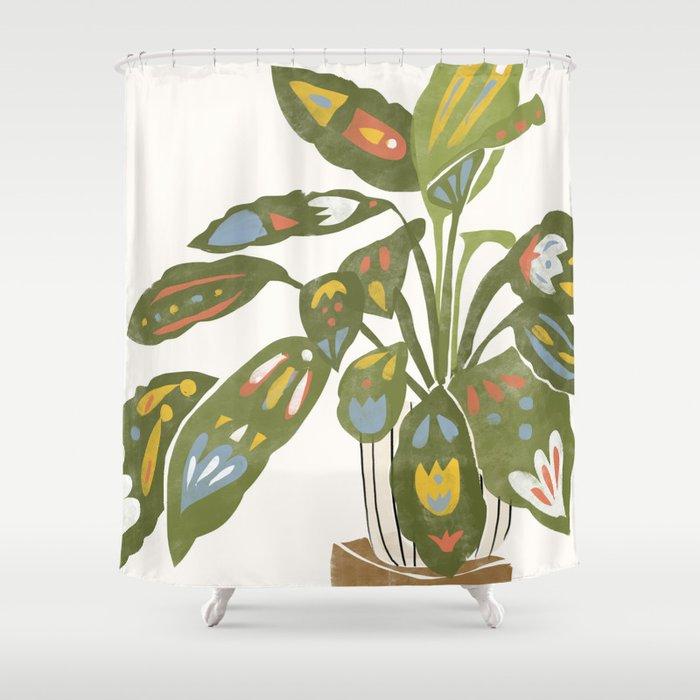 Scandinavian Plant Shower Curtain