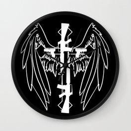 White Gun Cross with Wings Wall Clock