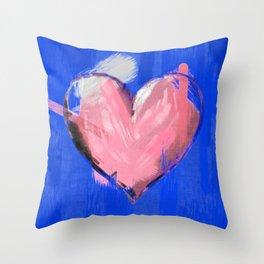 Big brushstrokes soft pink heart Throw Pillow
