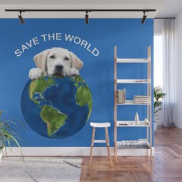 Save the world - Golden retriever and typography Wall Mural