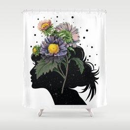 Flower pot head galaxy Shower Curtain