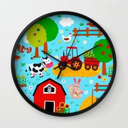 Farm Animals Blue Sky Barnyard Pattern Wall Clock