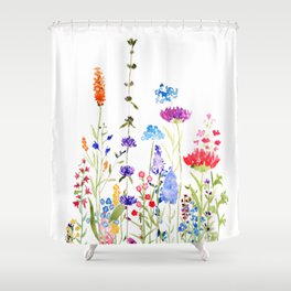 colorful wild flowers watercolor painting Shower Curtain