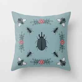 Beetle Flower Prettiness Throw Pillow