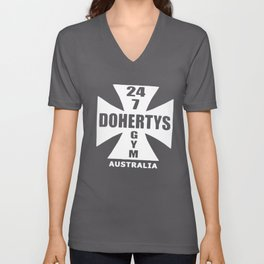 Dohertys Gym Australia Cross Logo Bodybuilding T-Shirts Unisex V-Neck