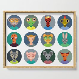 Chinese zodiac collection, Set of animals faces circle icons in Trendy Flat Style Serving Tray