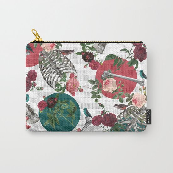 Skull Rose and Polka Dot Carry-All Pouch