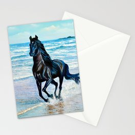Seascape with black horse Stationery Cards