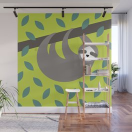 time to chill says the sloth Wall Mural