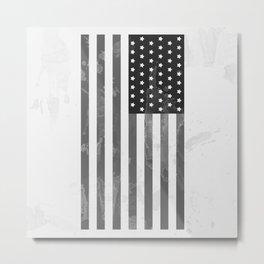 American Flag B/W Metal Print