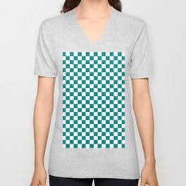 White and Teal Green Checkerboard Unisex V-Neck