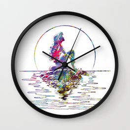 The Little Mermaid Ariel Silhouette Watercolor Wall Clock