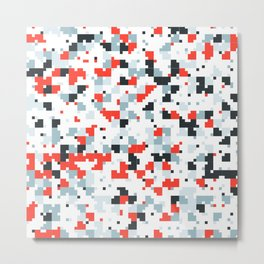 The accent color - Random pixel pattern in red white and blue Metal Print