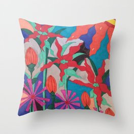 Bold Garden Night Party Throw Pillow