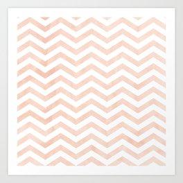 Coral Stripes zig-zag Art Print