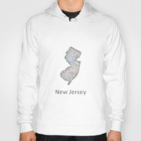 new jersey Hoodies featuring New Jersey map by David Zydd