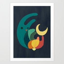 Rabbit and crescent moon Art Print