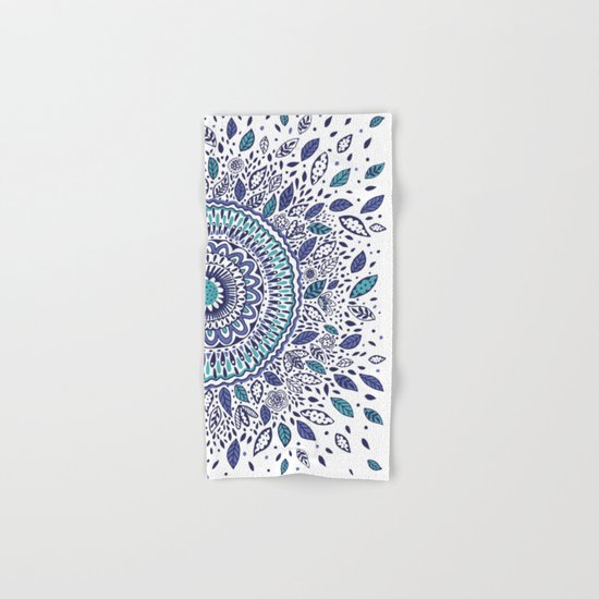 Indigo Flowered Mandala Hand & Bath Towel