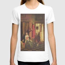Pieter de Hooch - Mother Lacing Her Bodice beside a Cradle T-shirt