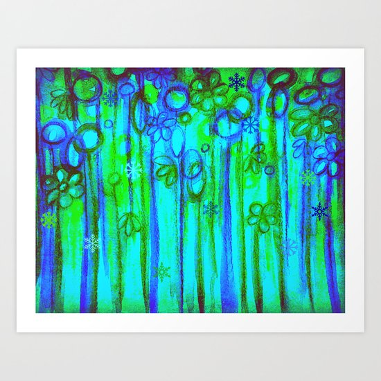WINTER GARDEN -Bright Blue Green Neon Snowflake Floral Abstract Watercolor Painting and Digital Art Art Print
