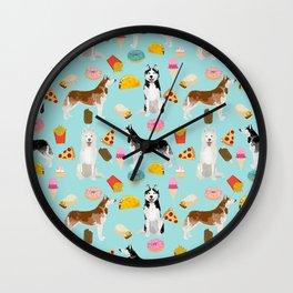 Husky siberian huskies junk food cute dog art sweet treat dogs pet portrait pattern Wall Clock