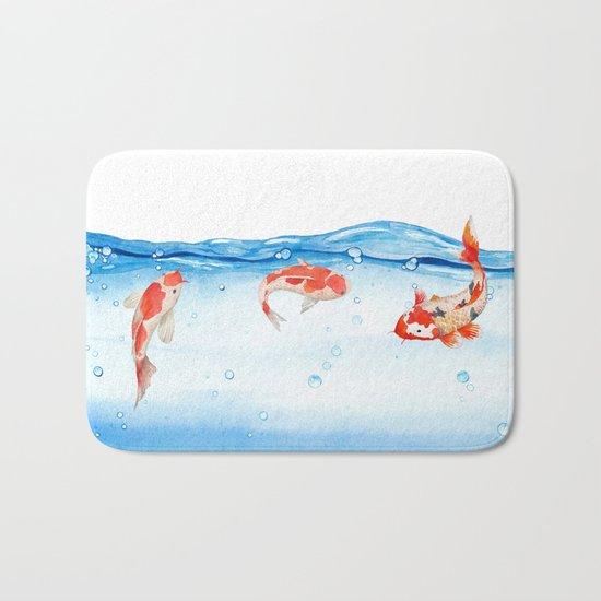 Happy koi fish- fishes sea water lake Bath Mat