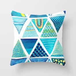Triangle Study in Blue Throw Pillow