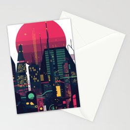 Night dystopian cityscape Stationery Cards
