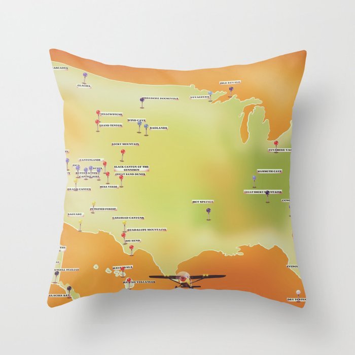 united states of american national parks map Throw Pillow by nicholasgreen
