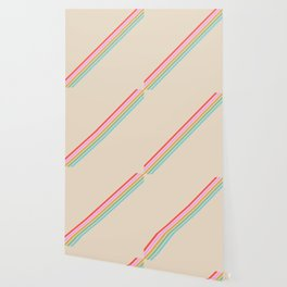 Basajaun - Colorful Thin Lines on Beige Wallpaper