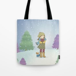 Girl and Dog in Snow Illustration Tote Bag