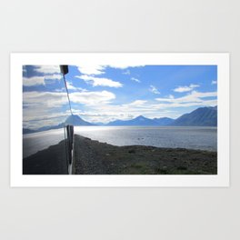 Alaskan Railcar refections Art Print
