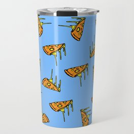 Pepperoni Pizza Dripping Cheese by the Slice Pattern (light blue) Travel Mug