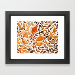 Autumn watercolor leaves Framed Art Print
