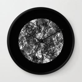Silver Moon - Abstract, textured silver foil lunar design Wall Clock