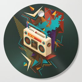 Bust Out The Jams Retro 80s Boombox Splash Cutting Board