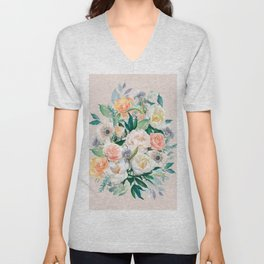 Pastel flower bouquet with roses Unisex V-Neck