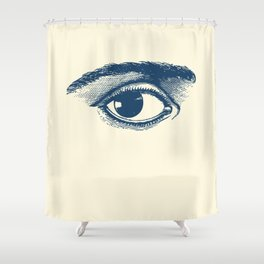 I see you. Navy Blue on Cream Shower Curtain
