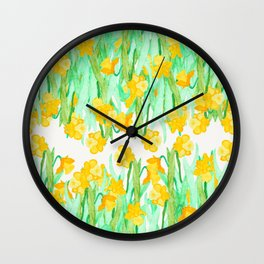 Colorful hand painted watercolor daffodil flowers  Wall Clock