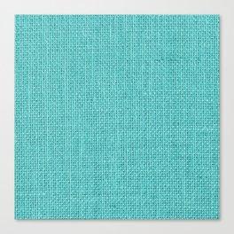 Natural Woven Aqua Blue Burlap Sack Cloth Canvas Print